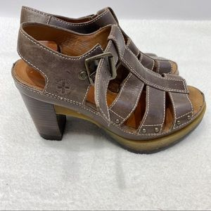 Dr Martens brown leather heeled sandals